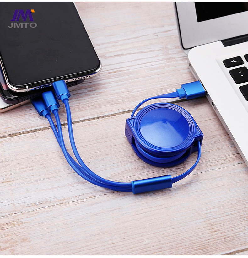 USB 3 in 1 Stretch Cable TYPE-C Micro Lightning Data Cable