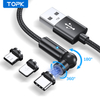 USB2.0 A To MCIRO+TYPE-C+IPHONE 3 IN1 Cable 540° Rotate Magnetic Cable